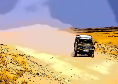 Jeep in desert, Pakistan.